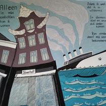 SLAUERHOFF uit de serie VERHAALPORTRETTEN  - acrylverf op doek - 70 x 70 - houten baklijst - verkoopprijs € 795