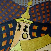 TSJECHIE  uit de serie REISSCHILDERINGEN - olieverf op doek - 50 x 40 - houten baklijst -verkoopprijs € 210
