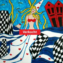 STAVOREN uit de serie FRIESE ELFSTEDEN - acrylverf op doek - 50 x 50 - verkoopprijs € 300