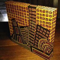 Blokpaneel skyline Leeuwarden 1 - 20x22 - acrylverf  - verkoopprijs € 125