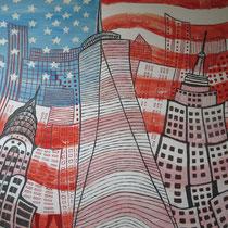 NEW YORK uit de serie Stadssonnetten - acrylverf op doek -  90 x 120  - houten baklijst - verkoopprijs € 1195