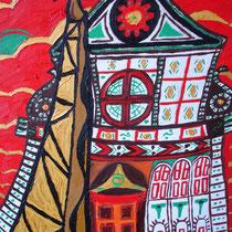 FLORENCE uit de serie REISSCHILDERINGEN - olieverf op doek - 50 x 40 - houten baklijst -verkoopprijs € 210