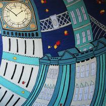 LONDEN uit de serie Stadssonnetten - acrylverf op doek -  90 x 120  - houten baklijst - verkoopprijs € 1195