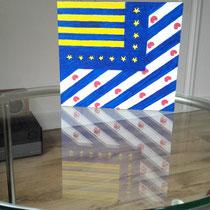 Blokpaneel Spiegeling - 20x18 - acrylverf - verkoopprijs € 95