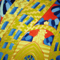 BARCELONA uit de serie REISSCHILDERINGEN - olieverf op doek - 50 x 40 - verkoopprijs € 210