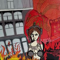 MATA HARI uit de serie VERHAALPORTRETTEN  - acrylverf op doek - 70 x 70 - houten baklijst - verkoopprijs € 795