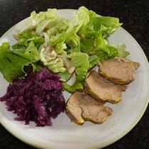 salade verte et foie gras - table d'hotes aux Gites des Camparros à Nailloux