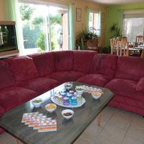 le salon avec table basse dressée pour l'apéritif - table d'hotes aux Gites des Camparros à Nailloux