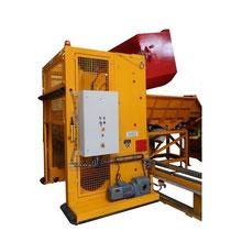 Élévateur basculeur sur rail 180°, capacité 1500kg, alimentation container en hauteur, pour alimentation trémies