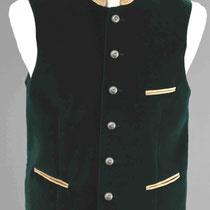 Dunkelgrüne Samtweste: Stehkragen, Taschen aus weichem Ziegenleder, silberfarbene Trachtenknöpfe.