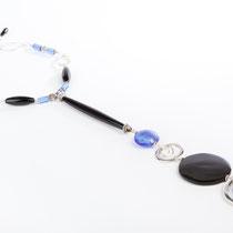 Sautoir en corne de buffle, Onyx, Murano, cristal de Swarovski et métal argenté. Copyright Sab El & Sy