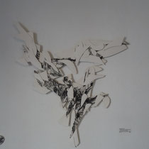 """Invisible Lines of Gravity #12"", 2013, mix media with ink and paper, 29""x24"""