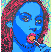 Lollipop Obsession | acrylic & spraypaint on canvas | 140x180 cm | 55x71 inches