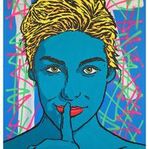Our Secret | acrylic & spraypaint on canvas | 140x180 cm | 55x71 inches