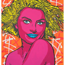 Sweet Blonde | acrylic & spraypaint on canvas | 140x180 cm | 55x71 inches