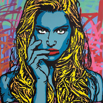 The Girl With Green Eyes | acrylic & spraypaint on canvas  | 140x180 cm | 55x71 inches