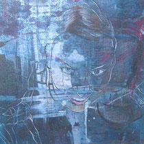 Meli (Ausschnitt), Acryl und Lack auf Leinen, 70 x 50 cm