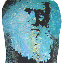 Charles Darwin (Ausschnitt), Lack auf Pappmasché   ca. 140 x 65 cm