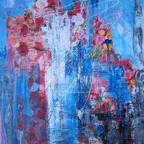 Skyline, Lack auf Papier auf Leinen, 70 x 100 cm