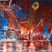 Urban explosion, Lack Acryl, Graffity auf Leinwand 200 x 140