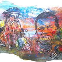 Guti-Gutti-Brainstorming, Lack, Acryl auf Pappmaché, ca. 120 x 60 cm