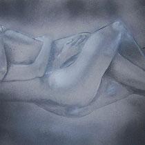 Liebespaar, Zeichenkohle, Lack auf Papier, 80 x 40 cm