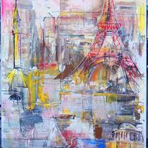 Metropole,  Lack,  Acryl und  Pastell auf Leinen 40 x 100 cm