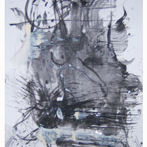 Akt, Tinte und Lack auf Papier 40 x 60 cm