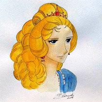 Maria Antonietta dall'anime Lady Oscar - acquerello su cartoncino di Barbara Carminati