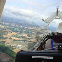 Im Cockpit des Kranich III bei Lasham. Foto: Auer