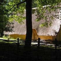 Druidenhaus mit Schilfdach bei Domaine des Druides