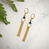 Boucles d'oreilles, perles de verres, composants de bijoux plaqués or 16 K. 26 euros
