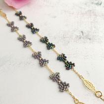 """Bracelet """"Bow"""", perles de verres, composants de bijoux plaqués or 16 K. 42 euros /pièce"""