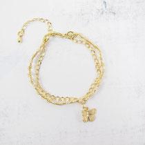 Bracelet perles avec chaîne dorée plaquée or 16k et breloque papillon - Couleur beige - 26 euros