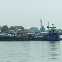 Donauüberquerung mit der Autofähre auf dem Weg nach Osten.