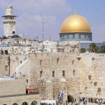 Blick auf Klagemauer und Felsendom in Jerusalem