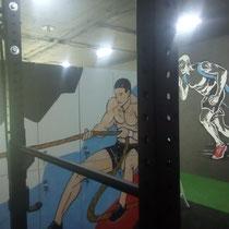 Роспись мебели (шкафчики в мужскую раздевалку) и фрагмент росписи на OSB стене.
