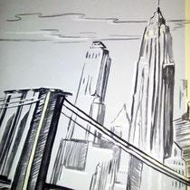 """Гостиная. Роспись стены """"Город"""". Фрагмент."""