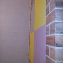 """Коридор. Нанесение декоративной штукатурки """"Кирпич"""", роспись стены """"Жираф"""" и обновление потолка.  Квадраты - это место под картины."""