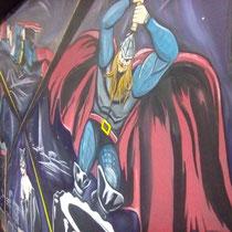 """Роспись стен """"СуперГерои КроссФита"""". Фрагмент."""