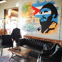 Художественное оформление барбершопа FIDEL, роспись стены.