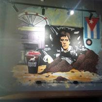 Художественное оформление кофейни BAGGINS Coffee, роспись стены.