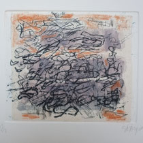 Sans titre 3, eau forte, chine collé et pastels, 20x20