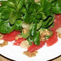 Feldsalat mit pink Grapefruit und Pomelo