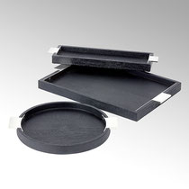 Sarabi Tablo eckig, Mangoholz mit Edelstahl ,schwarz/nickel matt ,H 3 cm, 40 x 12 cm, CHF 112.60 & H 3 cm, 45 x 32 cm, CHF 163,20