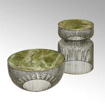 Nikaho Couchtisch +Beisteller Eisendraht Gestell mit moosgrüner Rainforest Marble Platte H 26cm, D 51 cm CHF 568,00 H 46,5 D 35,5cm,CHF 505,00F