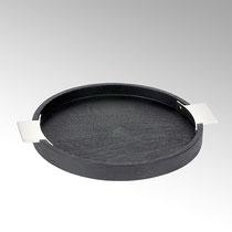Sarabi Tablo rund, Mangoholz mit Edelstahl Farbe: schwarz/nickel matt Maße: H 3 cm, D 32 cm, CHF 150.50