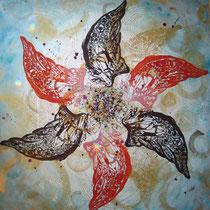 6wings  【法人様オーダーメイド】 木版×水彩×和紙   (2010)    1000×1000