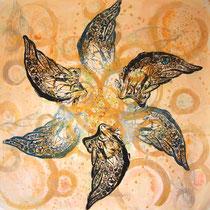 6wings   木版×水彩×和紙   (2009)    950×950