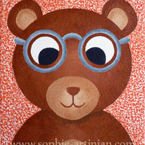 Petit ourson à lunettes Acrylique sur toile, format 24x30 cm (Juillet 2012).